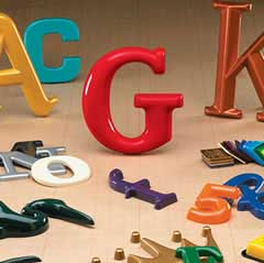 pre-made formed plastic letters